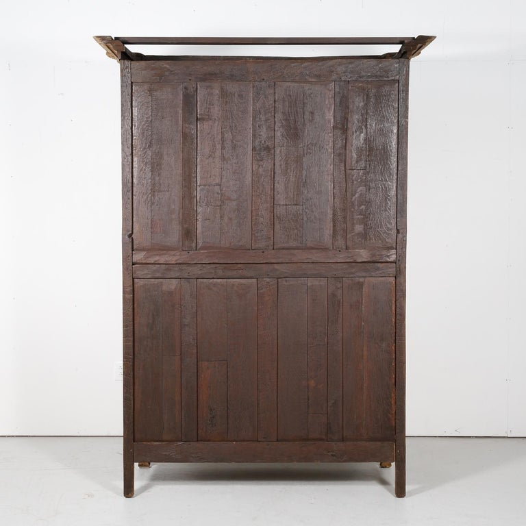 19th Century French Country Louis XV Style Bleached Oak Normandy Wedding Armoire For Sale 10