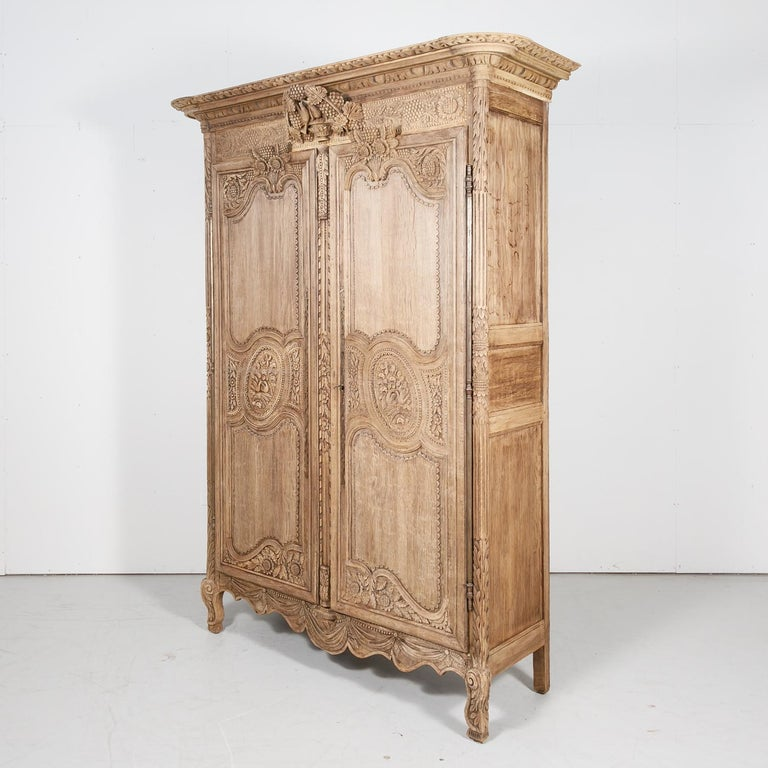 19th Century French Country Louis XV Style Bleached Oak Normandy Wedding Armoire For Sale 11