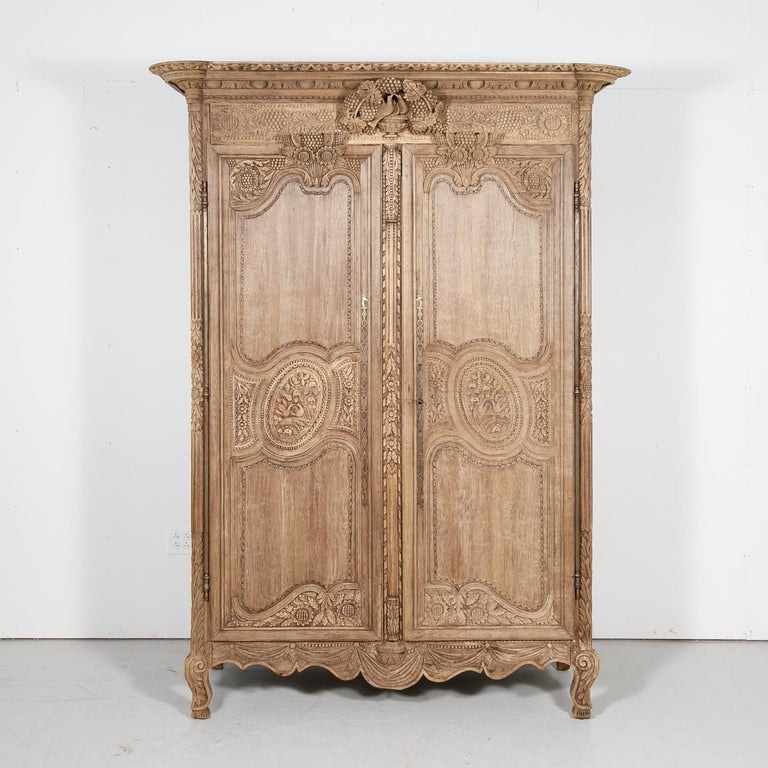 19th Century French Country Louis XV Style Bleached Oak Normandy Wedding Armoire For Sale 12