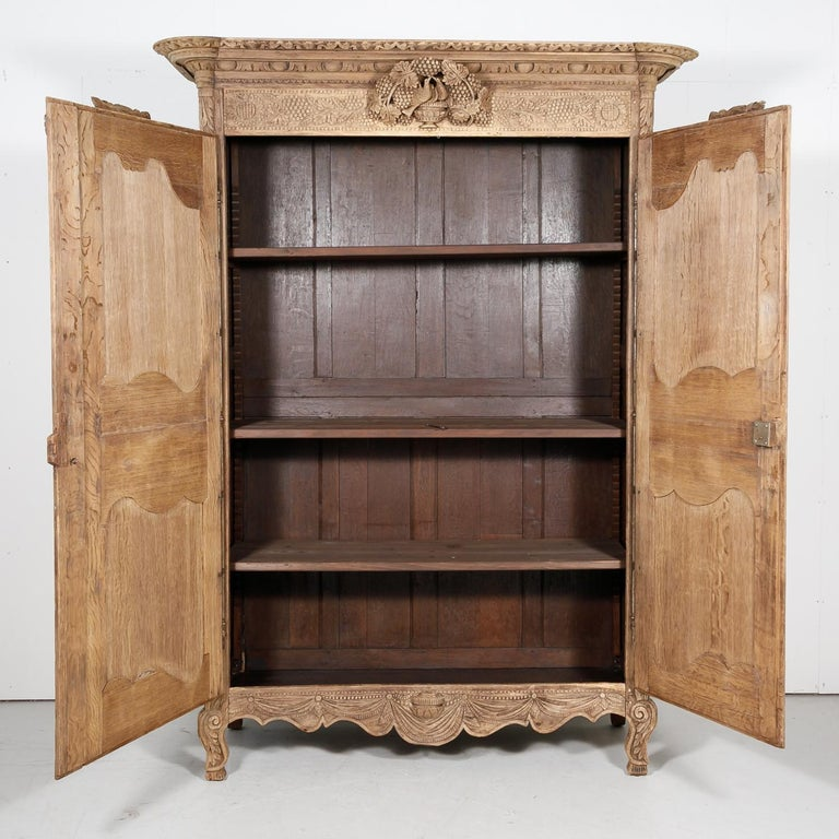 19th Century French Country Louis XV Style Bleached Oak Normandy Wedding Armoire In Good Condition For Sale In Birmingham, AL