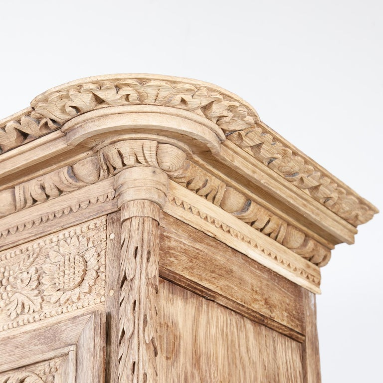 19th Century French Country Louis XV Style Bleached Oak Normandy Wedding Armoire For Sale 1