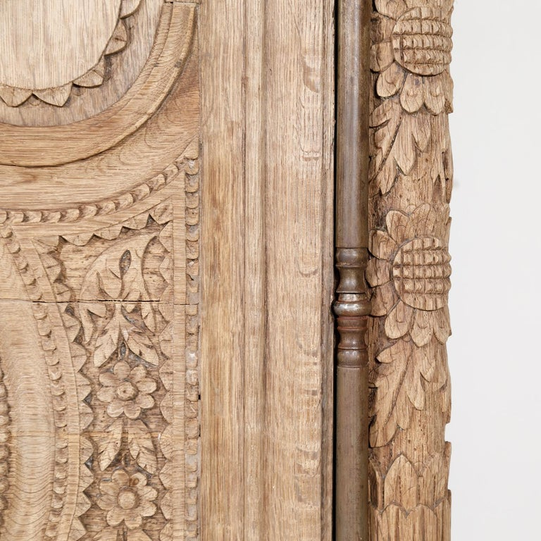 19th Century French Country Louis XV Style Bleached Oak Normandy Wedding Armoire For Sale 4