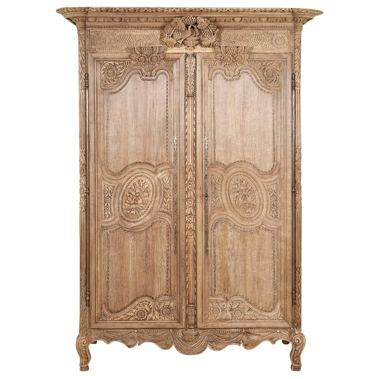 19th Century French Country Louis XV Style Bleached Oak Normandy Wedding Armoire For Sale