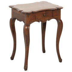 19th Century French Country Louis XV Style Walnut Side Table with Drawer