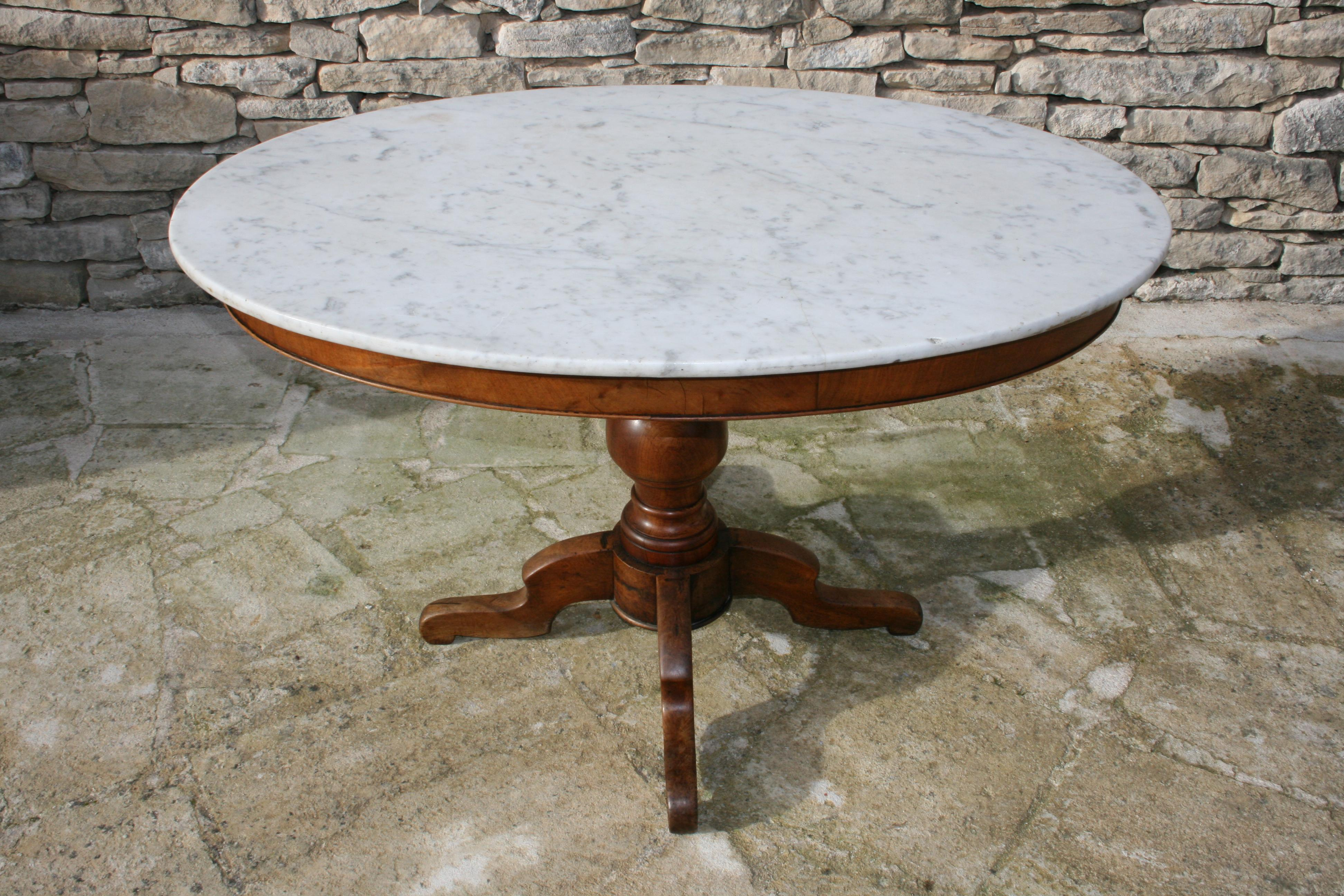 19th Century French Country Oval Marble Topped Occasional Table