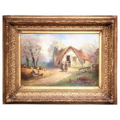 19th Century French Country Scene Oil Painting in Gilt Frame Signed A Degerville