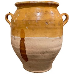 19th Century French Country Yellow Glazed Pottery Confit Pot from the Perigord
