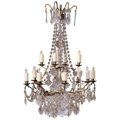 19th Century French Crystal and Brass Twelve-Light Chandelier