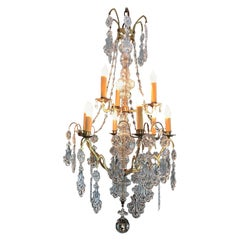 19th Century French Crystal and Blown Glass Chandelier