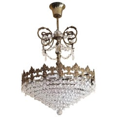 19th Century French Crystal Ormolu Chandelier
