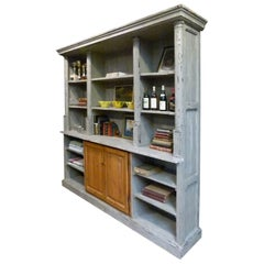19th Century French Wooden Bookshelf with White Patina