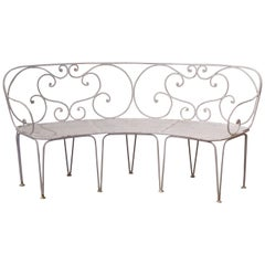 19th Century French Curved Painted Iron Three-Seat Garden Bench from Normandy