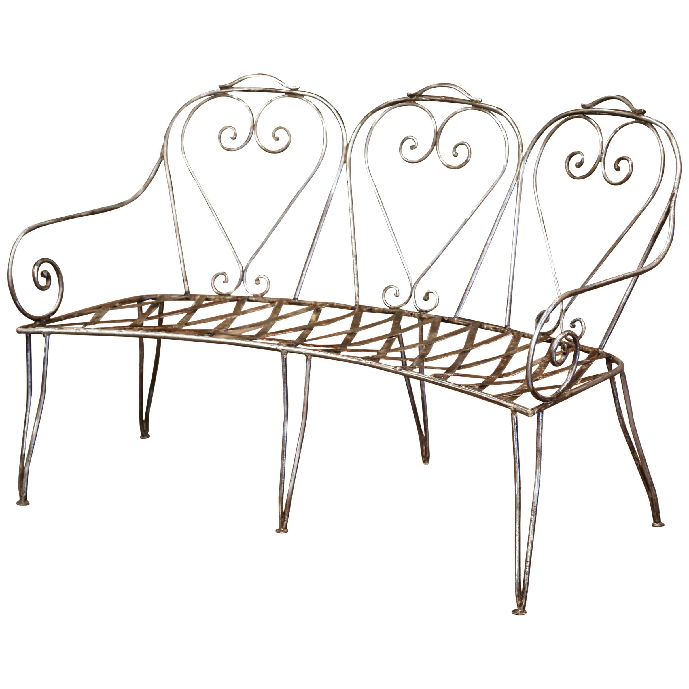 19th Century French Curved Polished Iron Three-Seat Garden Bench from Normandy