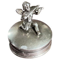 19th Century French Delicate Silver Box with an Angel Playing Music on the Top