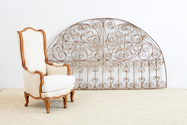 19th Century French Demilune Iron Transom Grille For Sale 6