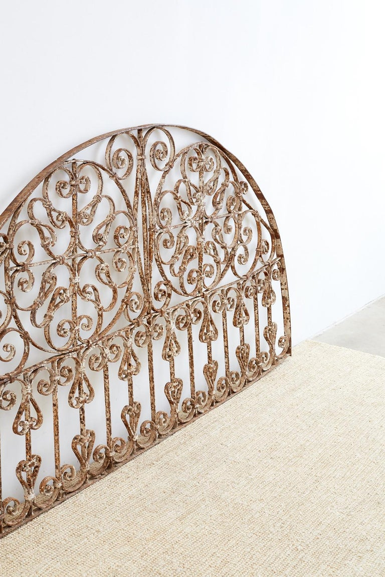 Art Nouveau 19th Century French Demilune Iron Transom Grille For Sale