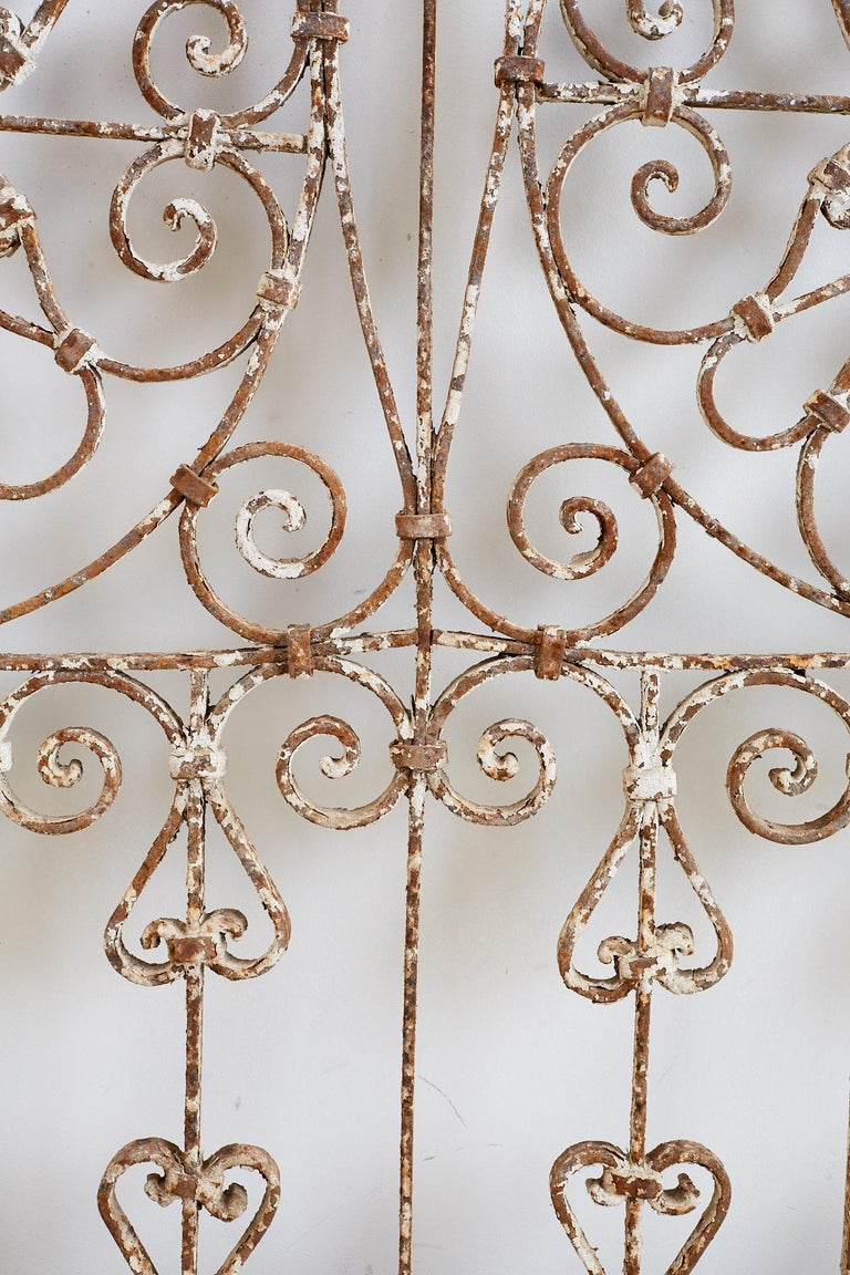 19th Century French Demilune Iron Transom Grille In Distressed Condition For Sale In Oakland, CA