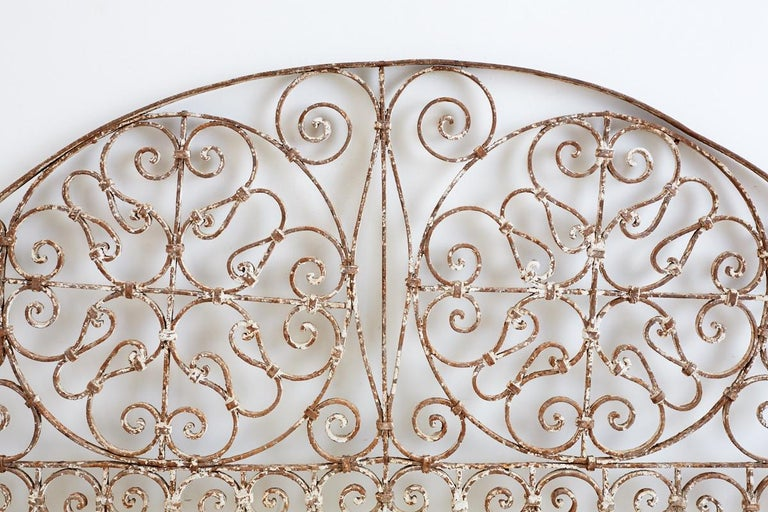 Wrought Iron 19th Century French Demilune Iron Transom Grille For Sale