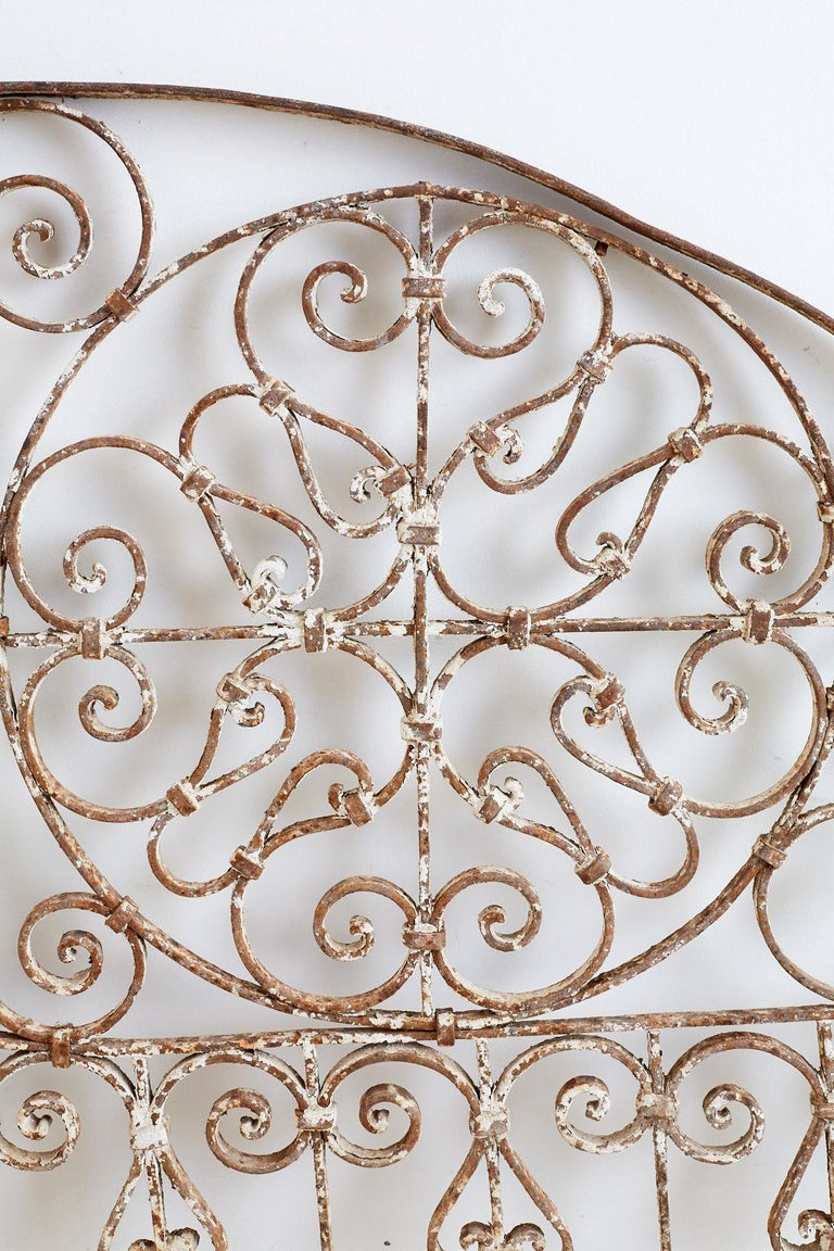 19th Century French Demilune Iron Transom Grille For Sale 1