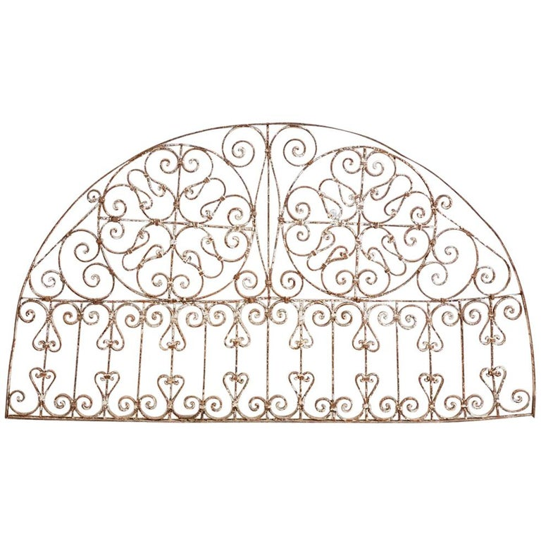 19th Century French Demilune Iron Transom Grille For Sale