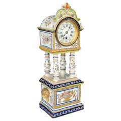 19th Century French Desvres Faience Clock