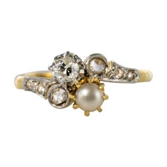 19th Century French Diamond Natural Pearl You and Me Engagement Ring