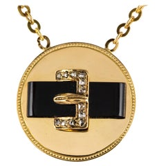 19th Century French Diamond Onyx 18 Karat Yellow Gold Belt Pendant Necklace