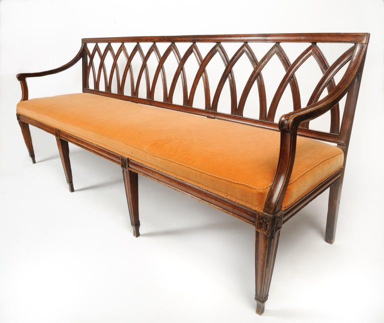 Hand-Carved 19th Century French Directoire Bench For Sale