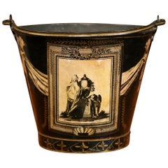 19th Century French Directoire Black and Beige Painted Decorative Tole Basket