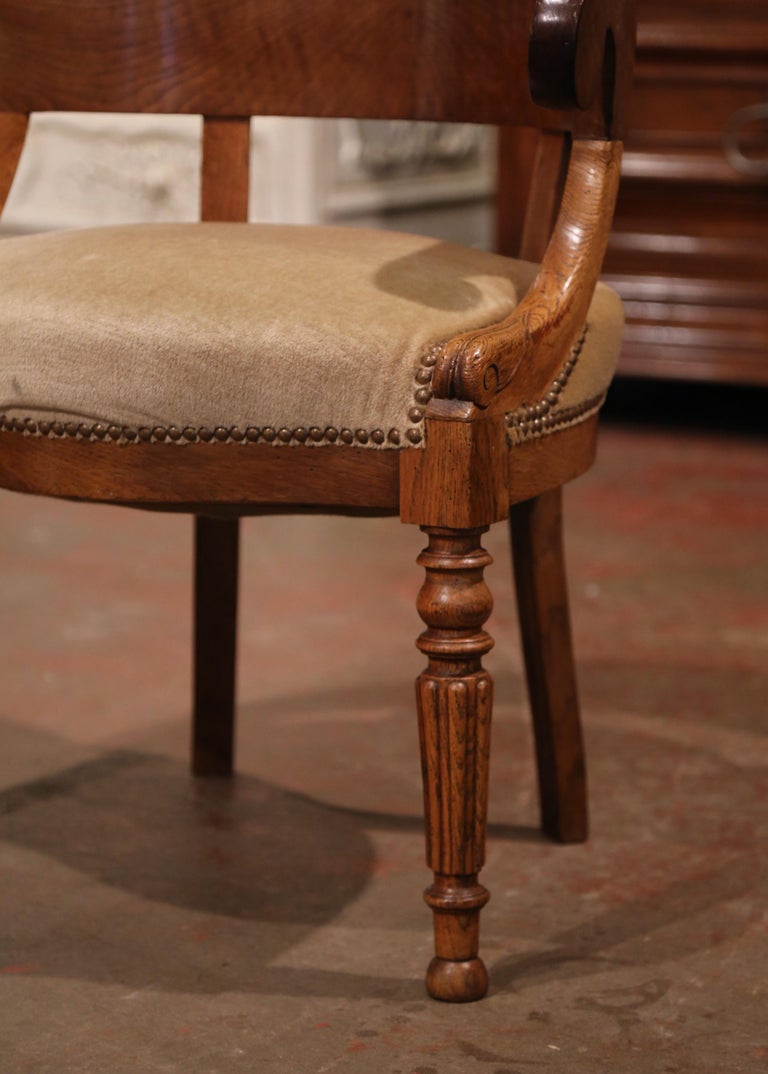 Patinated 19th Century French Directoire Carved Chestnut Desk Armchair with Beige Velvet For Sale