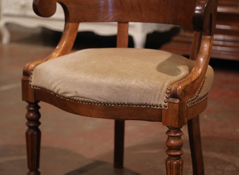 19th Century French Directoire Carved Chestnut Desk Armchair with Beige Velvet In Excellent Condition For Sale In Dallas, TX