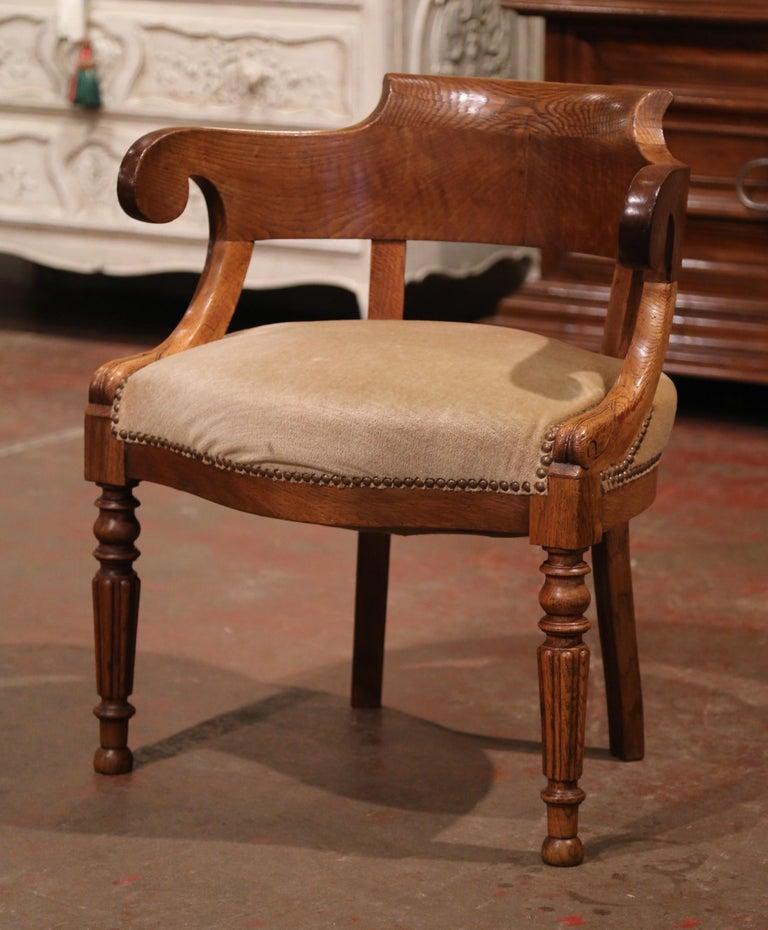 Oak 19th Century French Directoire Carved Chestnut Desk Armchair with Beige Velvet For Sale