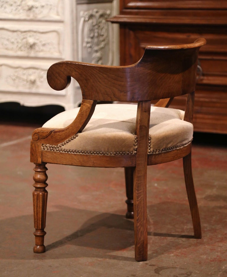 19th Century French Directoire Carved Chestnut Desk Armchair with Beige Velvet For Sale 1