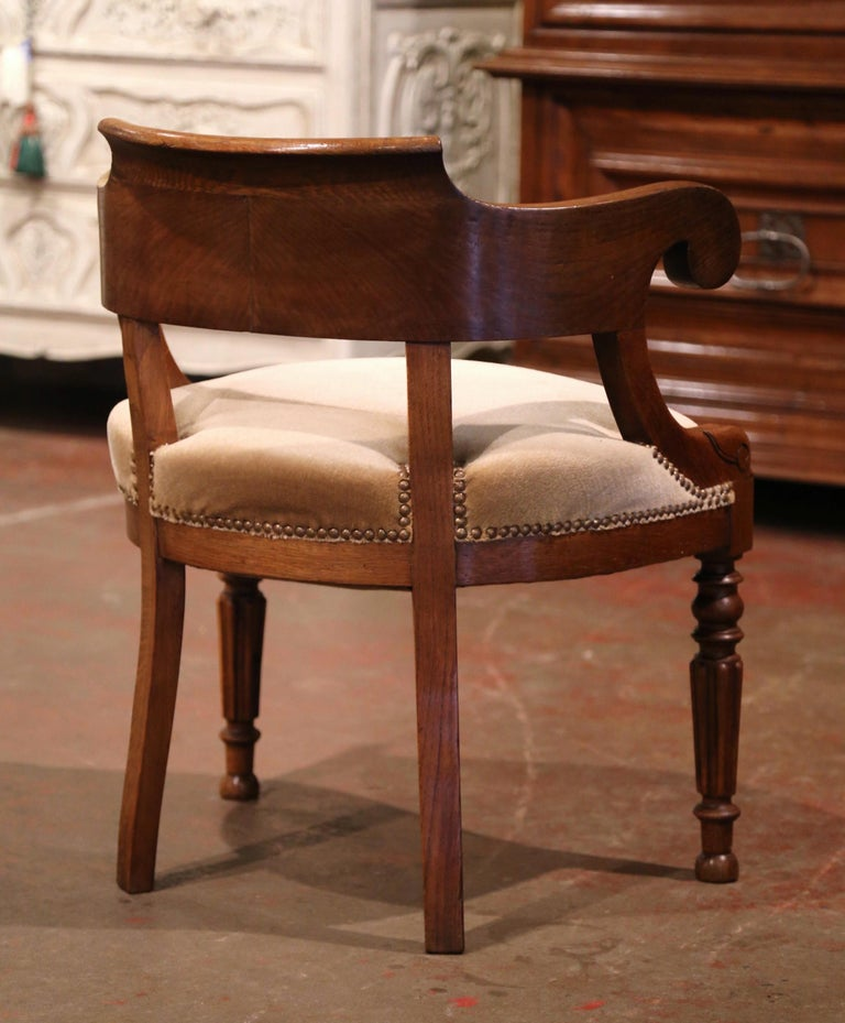 19th Century French Directoire Carved Chestnut Desk Armchair with Beige Velvet For Sale 2