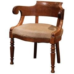 19th Century French Directoire Carved Chestnut Desk Armchair with Beige Velvet