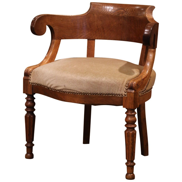 19th Century French Directoire Carved Chestnut Desk Armchair with Beige Velvet For Sale