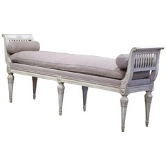 19th Century French Directoire Carved Painted Banquette with Back and Upholstery