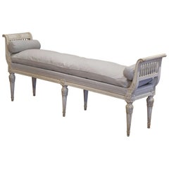 19th Century French Directoire Carved Painted Upholstered Banquette with Back