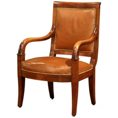 19th Century French Directoire Carved Walnut and Brown Leather Desk Armchair