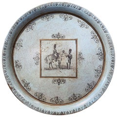 19th Century French Directoire Grey and Black Painted Tole Tray