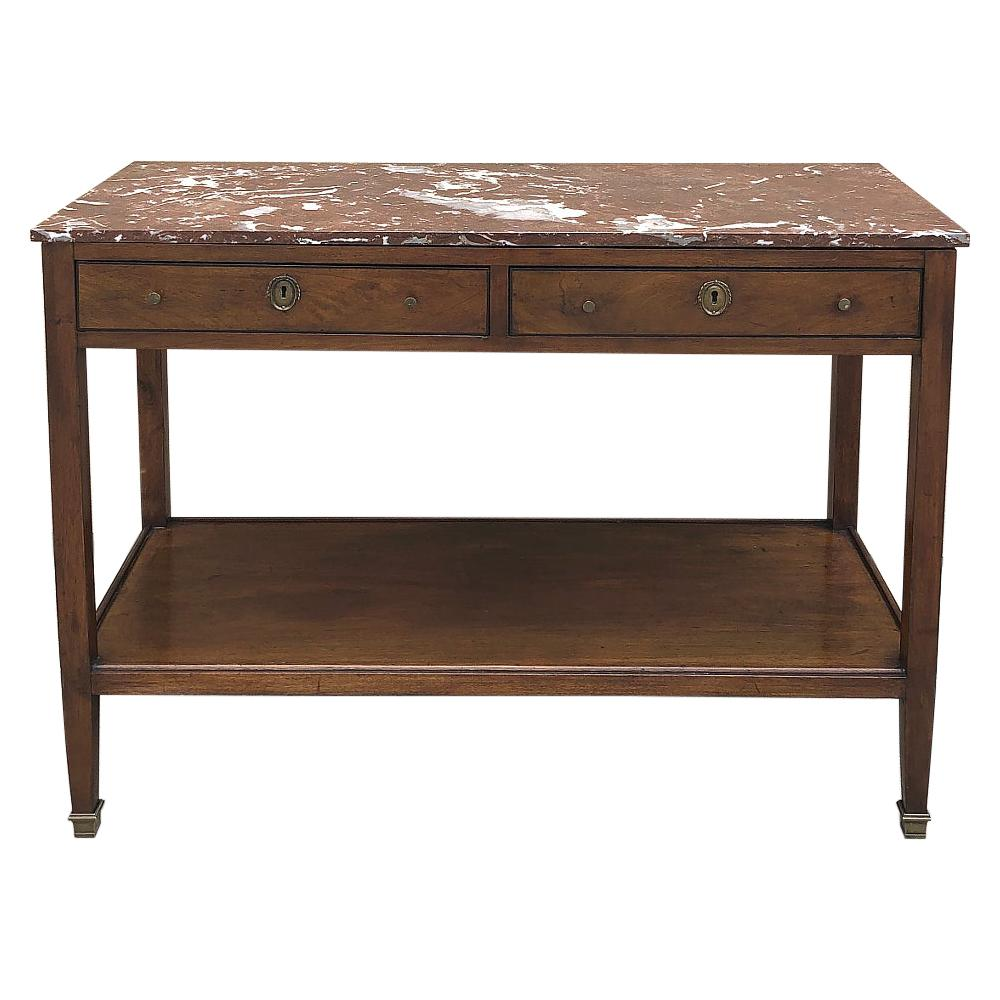 19th Century French Directoire Marble Top Low Buffet, Console, Sofa Table