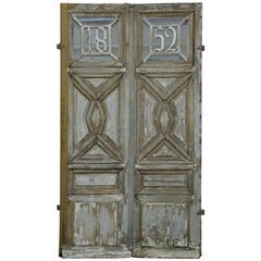 19th Century French Door in Pale Blue Gray