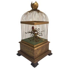 19th Century French Double Singing Birds Automation in Cage