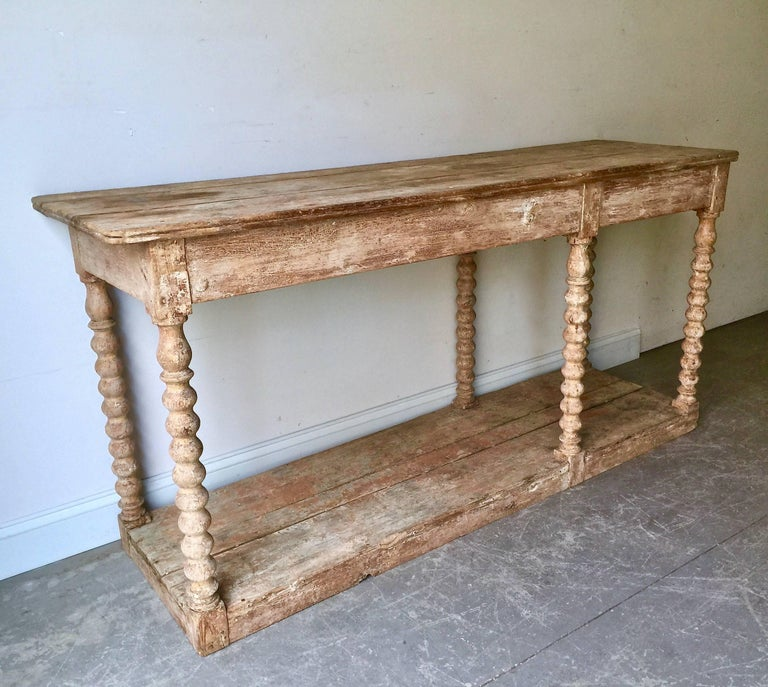 Hand-Carved 19th Century French Draperie Table/Concole For Sale