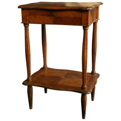19th Century French Dressing Work Stand in Walnut Veneer