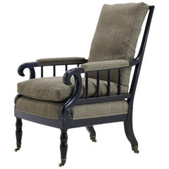 19th Century French Ebonised Armchair in Grey Linen