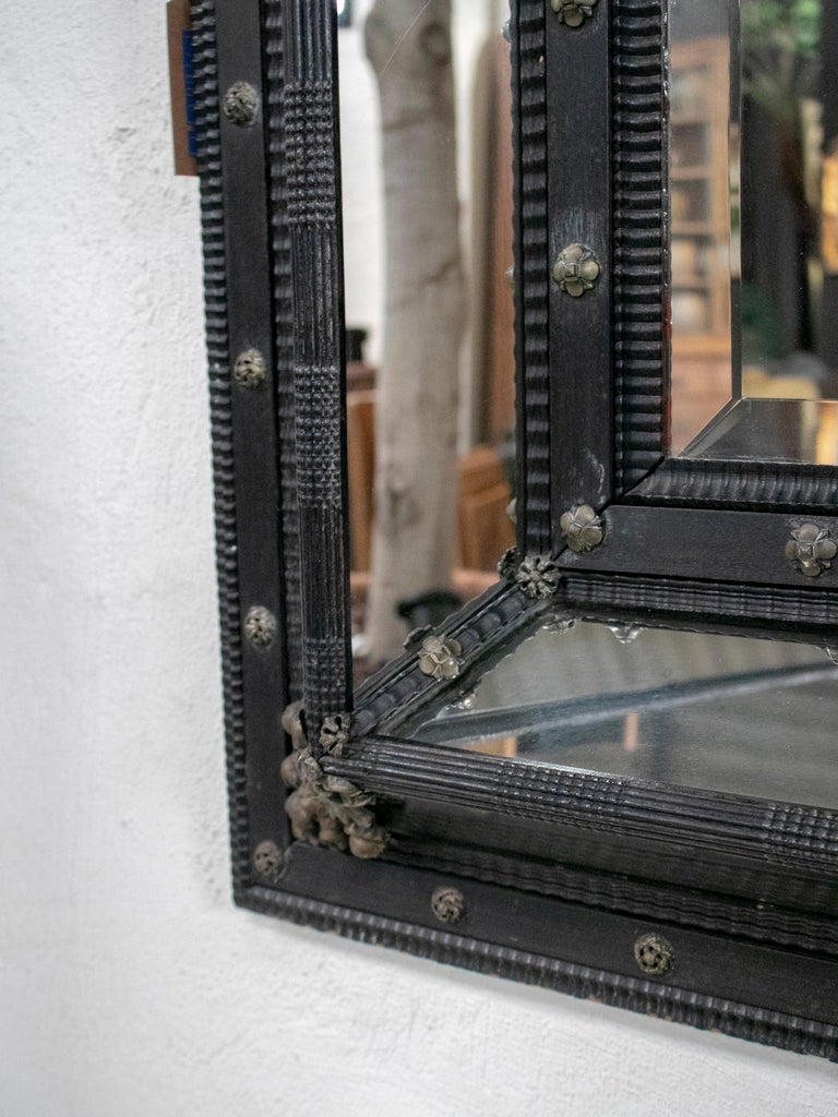 19th Century French Ebonized Mirror with Bronze Decorations For Sale 6