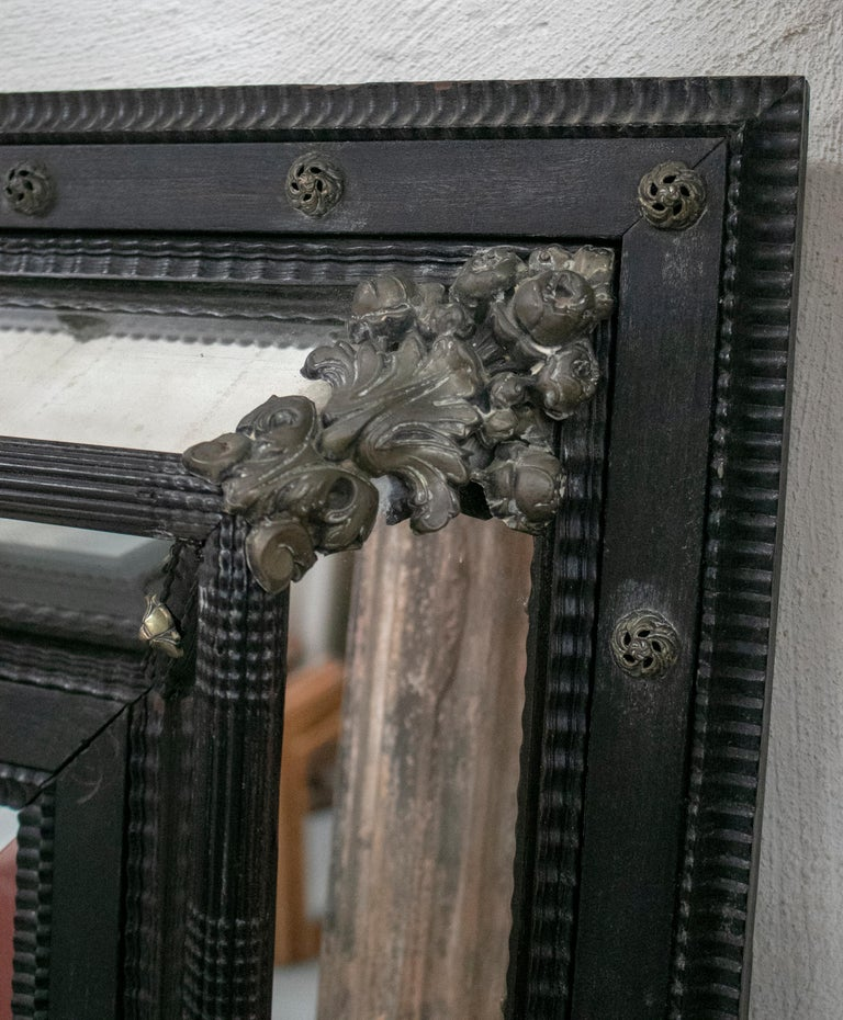 19th Century French Ebonized Mirror with Bronze Decorations For Sale 4