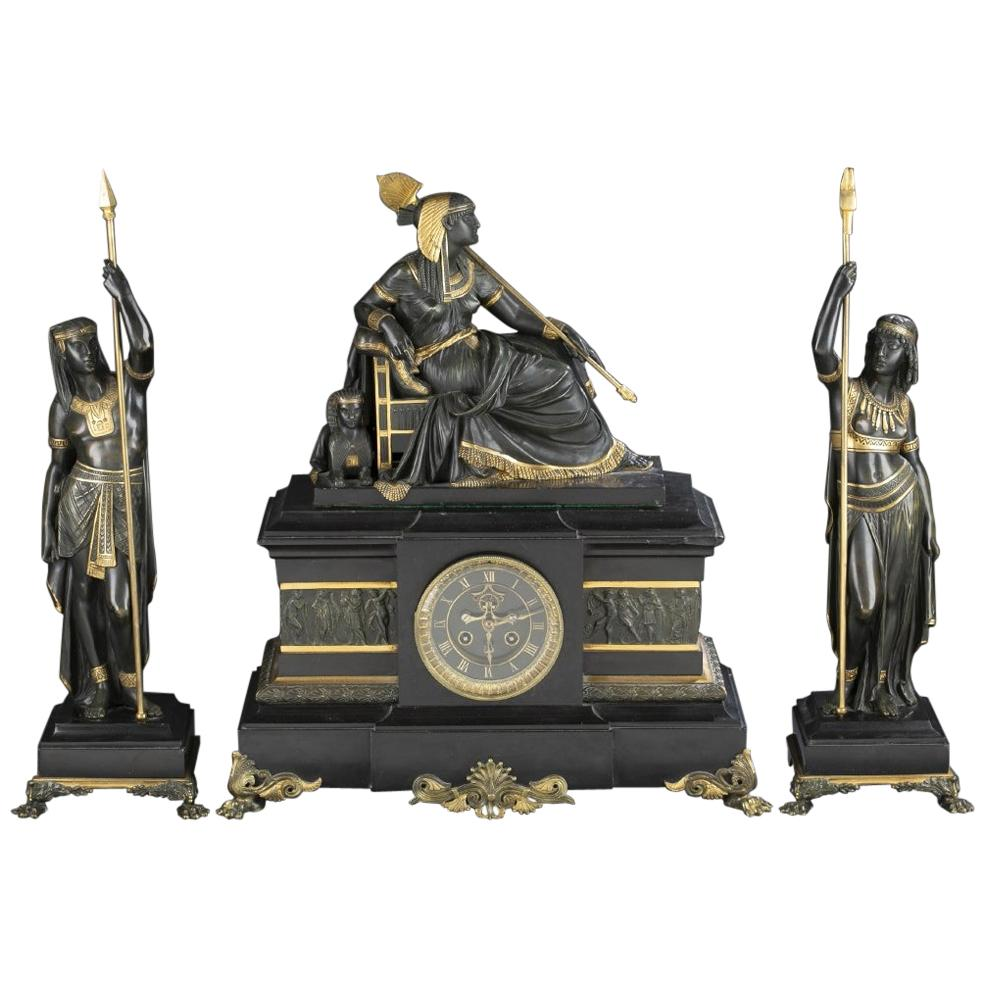 19th Century French Egyptian Revival Bronze Clockset by S. Marti & Cie