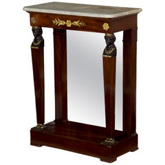 19th Century French Egyptian Revival Pier Table with Marble Top